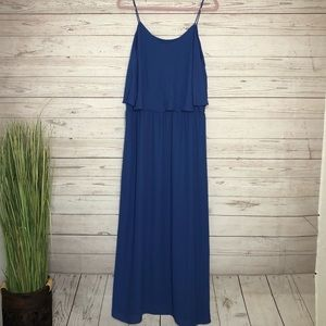 Mossimo strappy blue tiered maxi XL